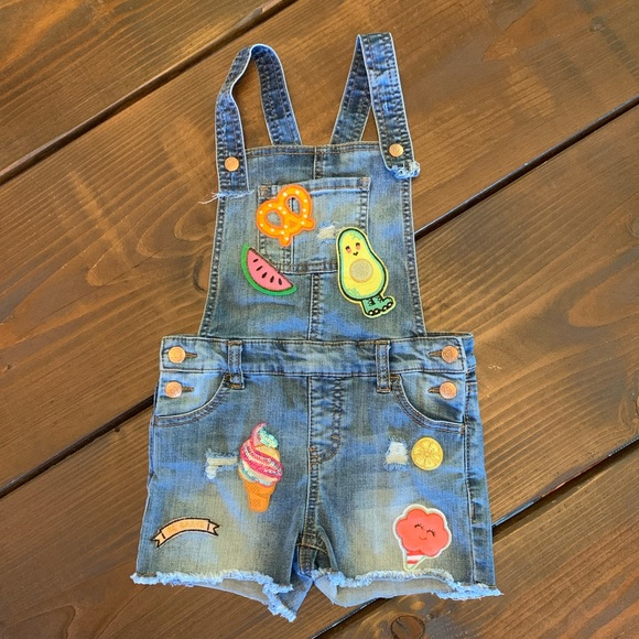 Cat & Jack Other - Cat & Jack Shorts Overalls Blue Jean Patches Small
